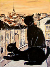 Wall Stickers  Cats love over the rooftops of Paris - JIEL