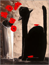 Wall sticker BLACK CAT WITH POPPIES