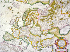 Gallery print  Map of Europe around 1569 - Gerardo Mercatore