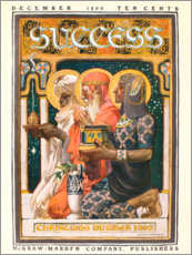 Wood print  The Three Kings, kneeling with gifts - Joseph Christian Leyendecker