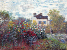 Foam board print  The Artist's Garden in Argenteuil - Claude Monet