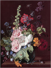 Wall Stickers  Hollyhocks and Other Flowers in a Vase, 1702-20 - Jan van Huysum