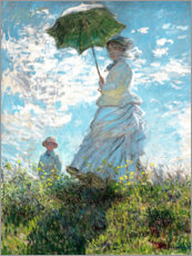 Wood print  Woman with a parasol - Madame Monet and her son - Claude Monet