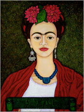 Wall sticker Frida portrait with dahlias