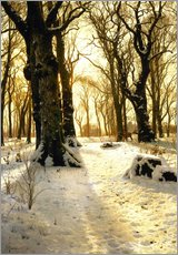 Wall sticker  Winter forest with deer - Peder Mørk Mønsted