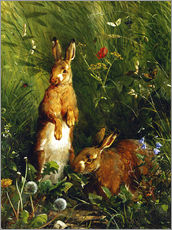 Gallery print  Rabbits in a meadow - Olaf August Hermansen