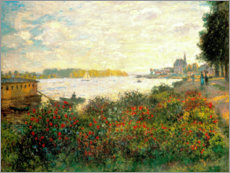 Foam board print  Red flowers on the banks of the Seine at Argenteuil - Claude Monet