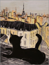 Wall Stickers  Black cat on the roofs of Paris - JIEL