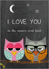 Gallery print  Owls - I love you to the moon and back - GreenNest