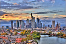 Gallery print  Frankfurt skyline in the evening light - HDR - HADYPHOTO
