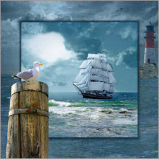 Wall sticker Collage With Sailing Ship
