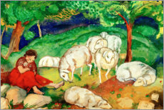Premium poster Shepherdess with sheep