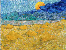 Foam board print  Evening Landscape with Rising Moon - Vincent van Gogh