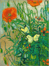 Foam board print  Butterflies and poppies - Vincent van Gogh