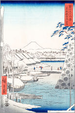 Wall sticker  Riverbank at Sukiya in Edo - Utagawa Hiroshige
