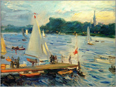 Gallery print  Sailboats on the Alster Lake in the evening - Max Slevogt