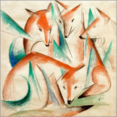 Wood print  Four foxes - Franz Marc