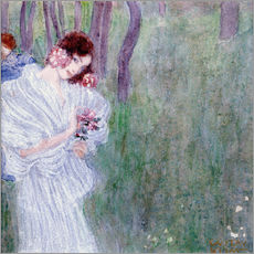Wall sticker  Girl with flowers at the edge of a forest - Gustav Klimt