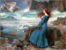 Wood print  Miranda, the storm - John William Waterhouse
