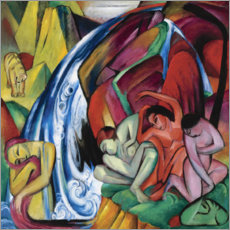 Acrylic print  The waterfall (women under a waterfall) - Franz Marc