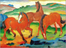Foam board print  Red horses (Grazing Horses IV) - Franz Marc