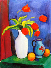 Wall sticker  Red tulips in white vase - August Macke