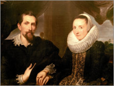 Wood print  Portrait of the painter Frans Snydersand his wife - Anthonis van Dyck