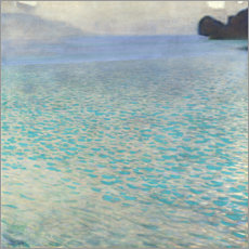 Wood print  On Attersee lake - Gustav Klimt