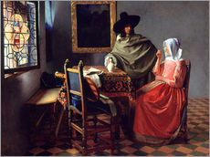 Wall sticker  Lord and lady at the wine - Jan Vermeer