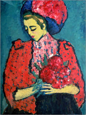 Wood print  Girl with Peonies - Alexej von Jawlensky