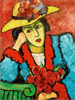 Foam board print  Lady with yellow straw hat - Alexej von Jawlensky