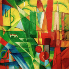 Franz Marc - Landscape with house, dog and cattle