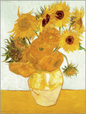 Wood print  Vase with Sunflowers - Vincent van Gogh