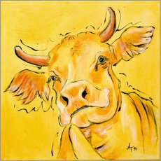Gallery print  The yellow cow Lotte - Annett Tropschug