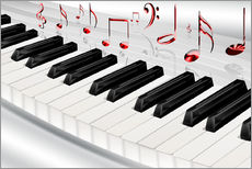 Wall sticker Piano keyboard with notes