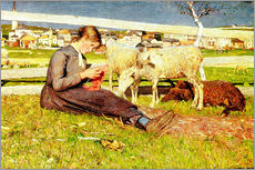 Wall sticker  A Girl Knitting - Giovanni Segantini