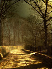 Wall sticker  A Moonlit Lane, with two lovers by a gate - John Atkinson Grimshaw