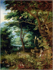 Foam board print  Paradise scene with Adam and Eve - Jan Brueghel d.J.