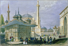 Wall sticker  Fountain and Square of St. Sophia, Istanbul - William Henry Bartlett