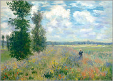 Wood print  The Poppy field - Claude Monet