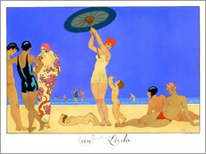 Wall sticker  At the Lido, engraved by Henri Reidel, 1920 - Georges Barbier
