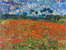 Wood print  Field of poppies, Auvers-sur-Oise - Vincent van Gogh