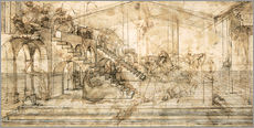 Wall sticker  Perspective Study for the background of the Adoration of the Magi - Leonardo da Vinci