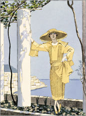 Gallery Print  Amalfi, illustration of a woman in a yellow dress by Worth, 1922 - Georges Barbier