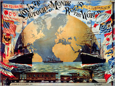 Gallery print  'Voyage Around the World', advertising poster of the late 19th century - Jakob Emil Schindler