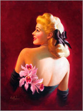 Art Frahm - Glamour Pin Up with Pink Orchids