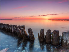 Gallery print  Breakwater on the beach of the sea in the sunset - Frank Herrmann
