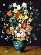 Premium poster  Bouquet in a blue vase - Jan Brueghel d.Ä.