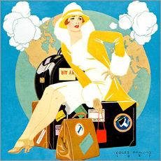 Wall sticker  traveling Lady - Life magazine 1927 - Clarence Coles Phillips