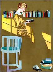 Gallery print  Reading in front of the bookshelf - Clarence Coles Phillips